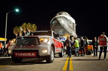 The Toyota Tundra tows the Endeavor. Photo courtesy of Toyota.